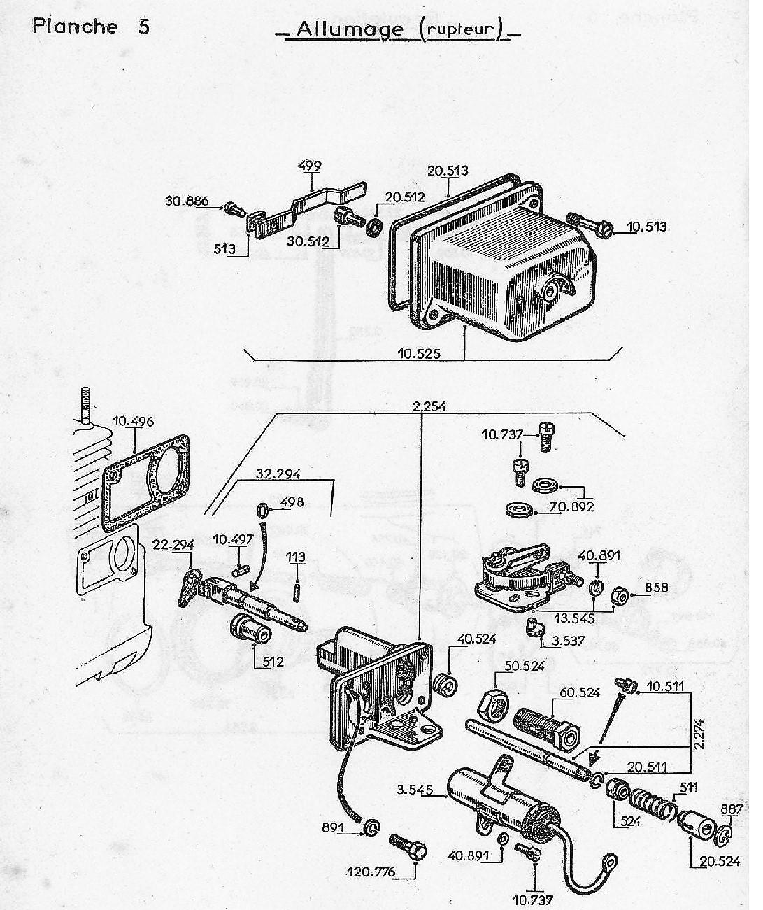 vue eclatee allumage rupteur W112/Bis/Ter