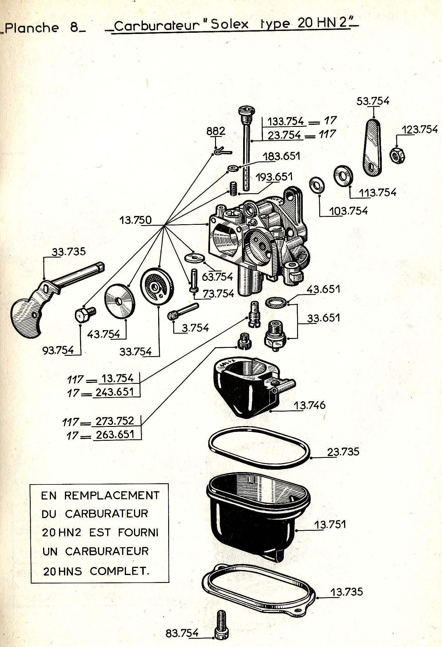 vue éclatée carburateur W17-W117