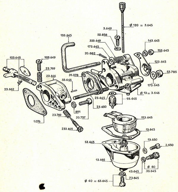 vue éclatée carburateur W18 W218 W318