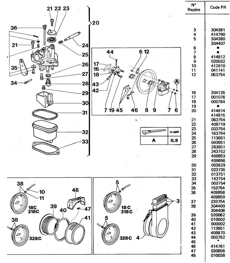 vue éclatée carburateur W18C - 318C - 328C
