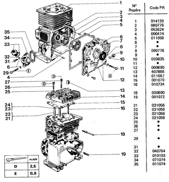 vue éclatée carter culasse W18C - 318C - 328C