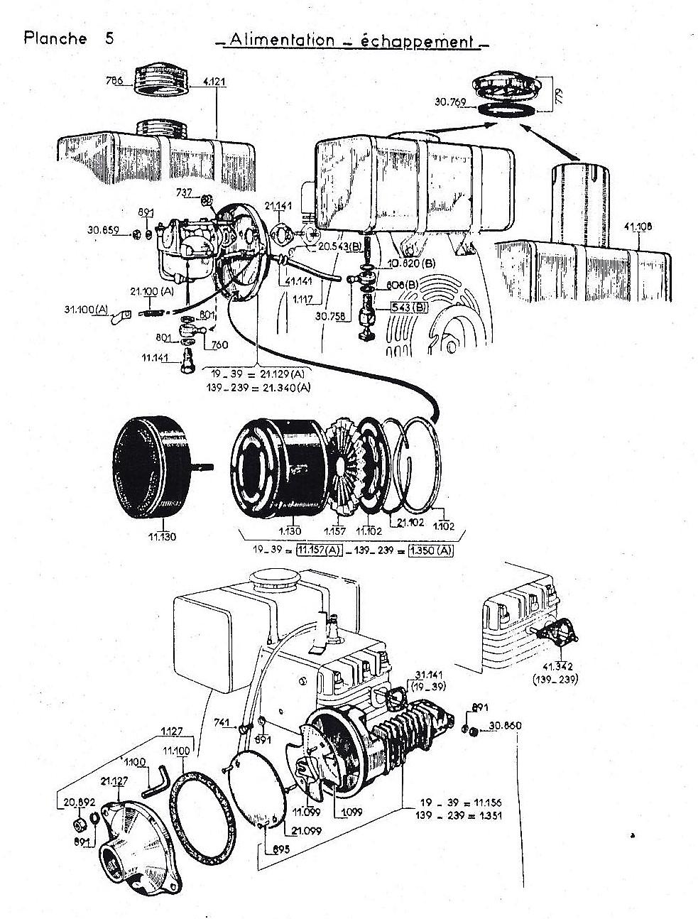 vue éclatée  alimentation echappement W19-W139-W239