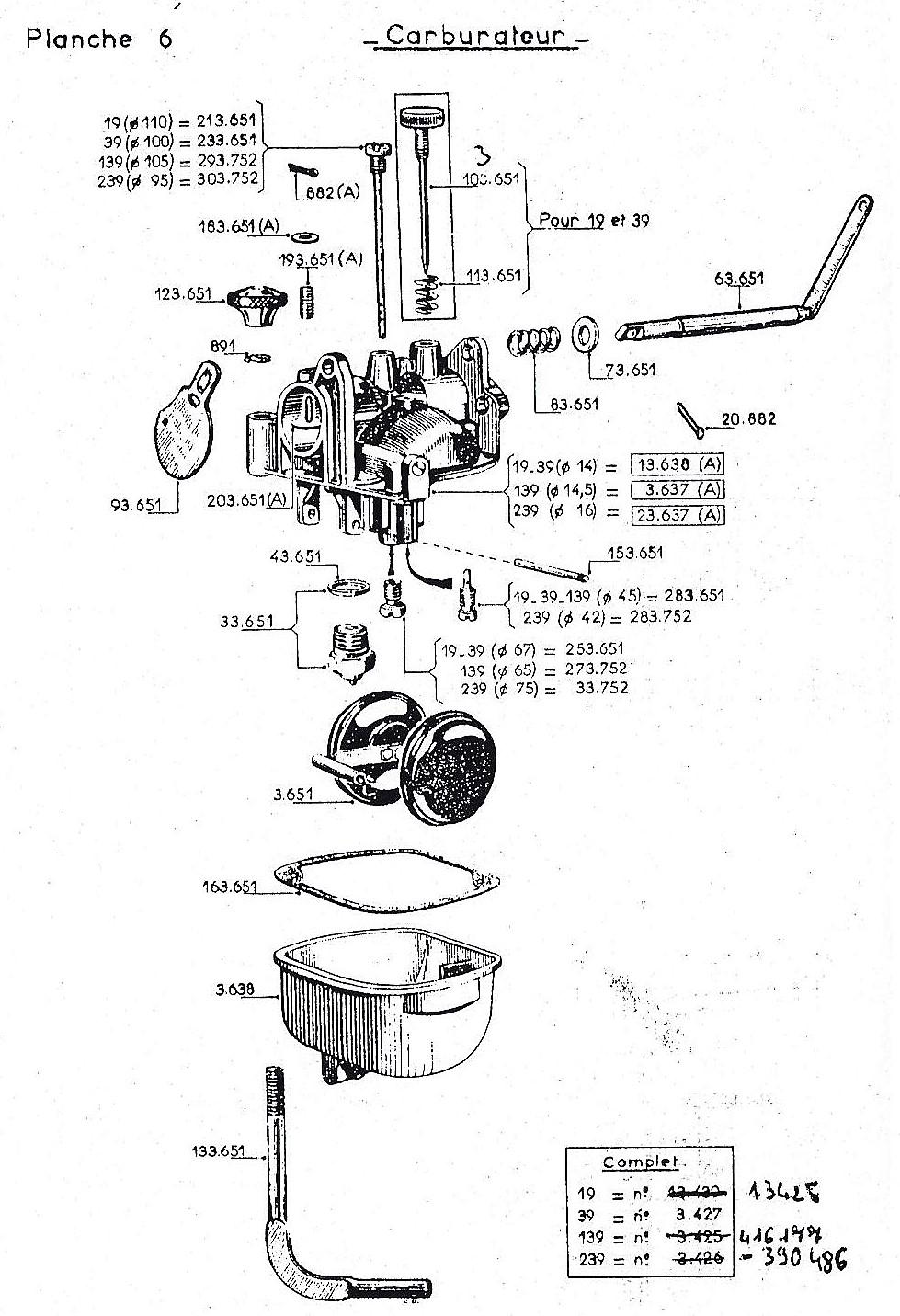 vue éclatée carburateur W19-W139-W239W19-W139-W239