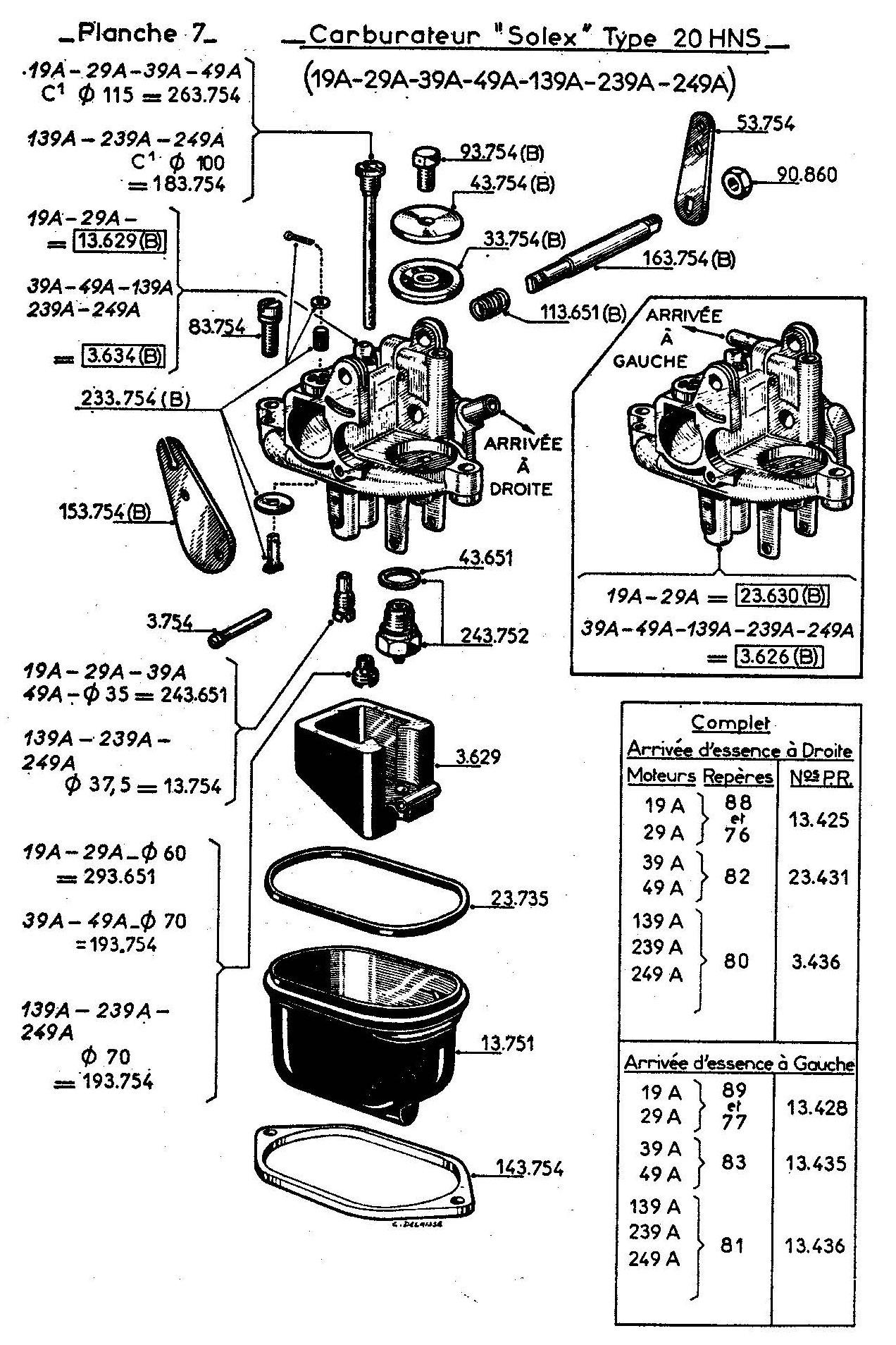 vue éclatée carburateur W617 W71719A - 39A - 139A - 239A - 29A - 49A - 249A
