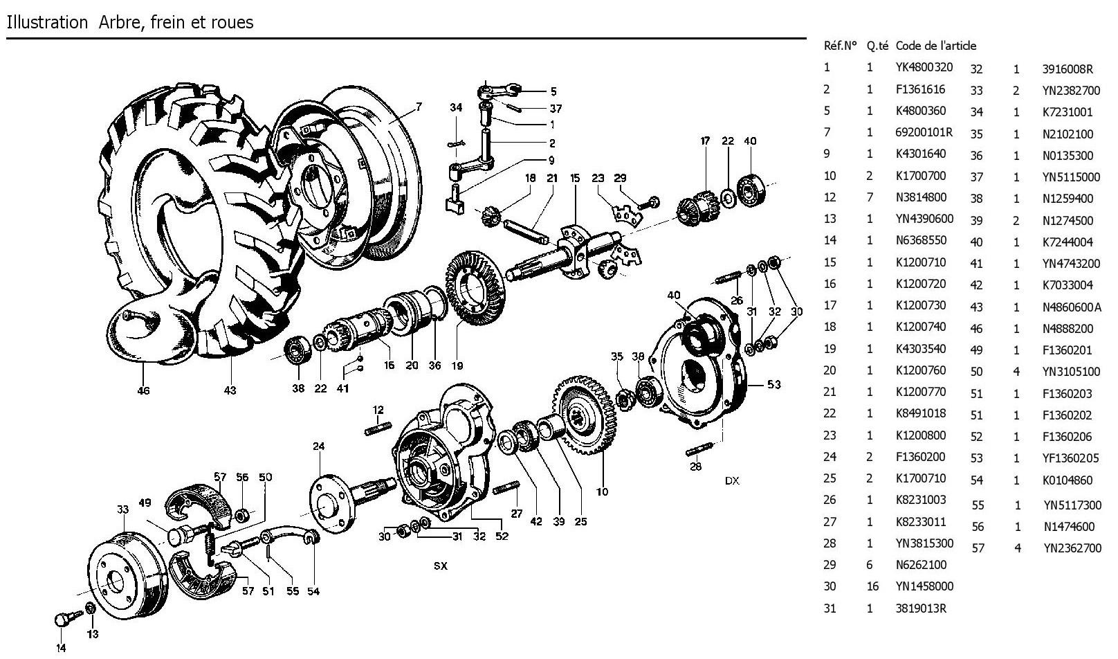 arbre, freins de roues