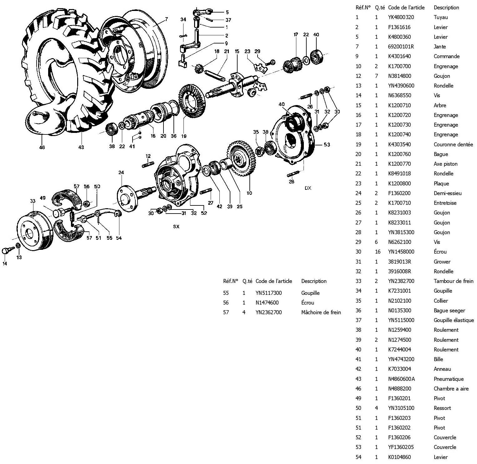 Arbre, freins et roues