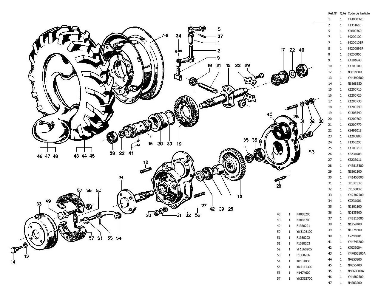 vue eclatee arbre et frein de roue MAXTER H4S