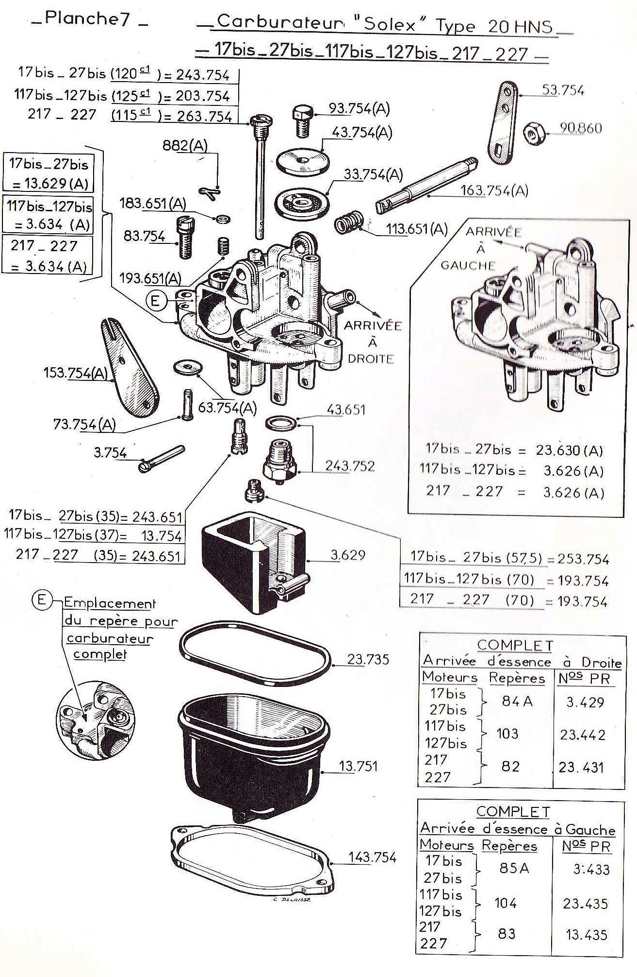 vue éclatée carburateur W17b-W117b